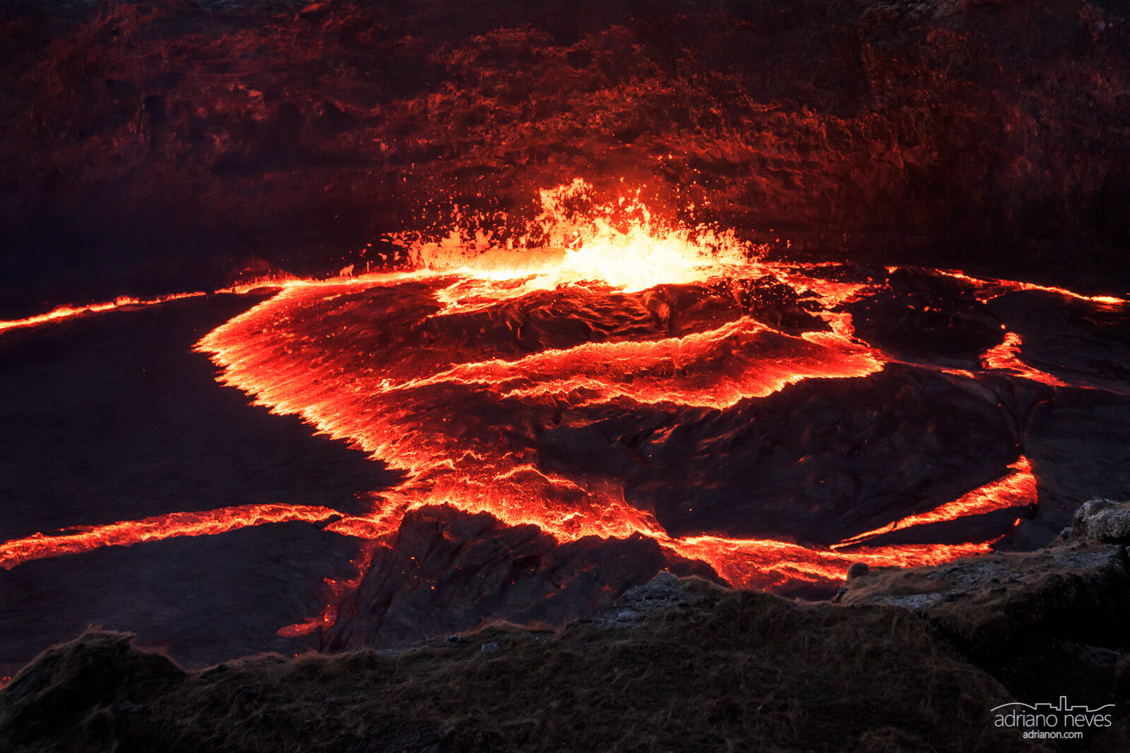 Landscape photograph of the Erta Ale volcano caldera, a molten lava pit - © Adriano Neves - acseven - All Rights Reserved