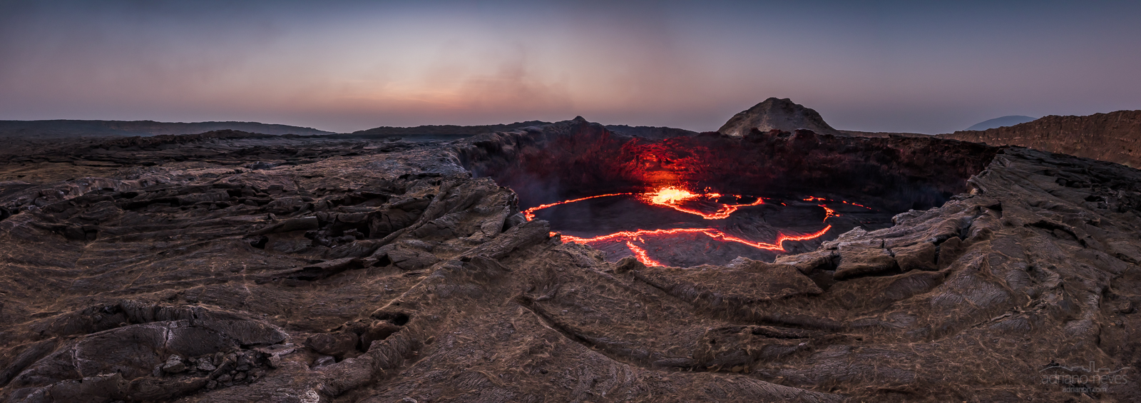 A lava lake vulcano in Africa, early morning.